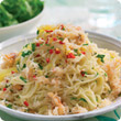 Angel hair pasta with crab, chilli and parsley