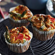 Asparagus and roast pepper muffins