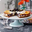Baked American blueberry and orange cheesecake