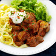 Beef goulash with tagliatelle