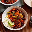 Black-eyed bean and vegetable chilli bowl