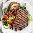 Chargrilled steak with rainbow salad