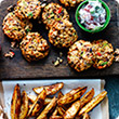 Chunky bean burgers with cajun wedges