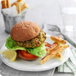 Curried veggie burger and chips