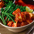 Easy chicken curry with spicy broccoli and green beans