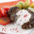 Griddled steak and peppercorn sauce