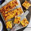 Leek, sweetcorn and roasted pepper squares