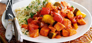 Moroccan veg stew with mixed herb couscous