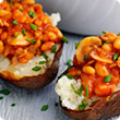 Mushrooms and baked bean jacket potatoes