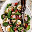 New potato and bacon salad with asparagus