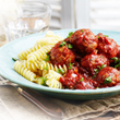 Pork meatballs in roasted vegetable sauce