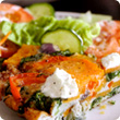 Red pepper, spinach and sweet potato tortilla