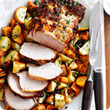 Roast lemon and mustard pork with one pan vegetables