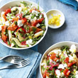Roasted red pepper and feta pasta with rocket and lemon