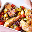 Salmon and dill tray bake