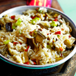 Spiced aubergine rice