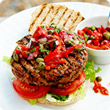 Spiced burger with red pepper relish
