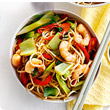 Stir-fry noodles with prawns and pak choi