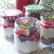 Summer berry & honey yogurt cheesecake jars