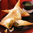 Vegetable samosas and hara chutney