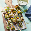 Veggie kebabs with ricotta pesto
